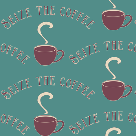 Seize the Coffee_bluegreen-175 fabric by mina on Spoonflower - custom fabric