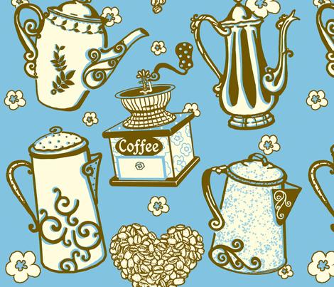 Coffee4U_ME_byTeresaMilburnKelly3color fabric by doodledoer-teresakelly on Spoonflower - custom fabric