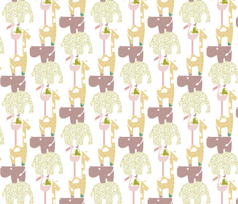 Spring Safari Tower (Hippo) - Vines fabric by ttoz on Spoonflower - custom fabric