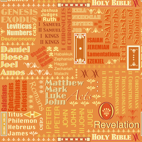 Books of The Bible - Orange fabric by petals_fair_-_peggy_brown on Spoonflower - custom fabric
