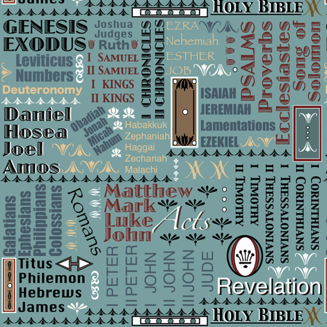 Books of The Bible - Teal Blue 84 144 144 fabric by petals_fair_(peggy_brown) on Spoonflower - custom fabric