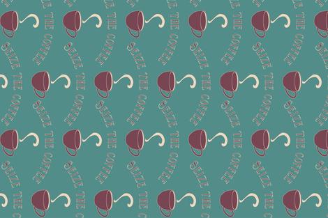 Seize the Coffee - bluegreen-175 - rotate fabric by mina on Spoonflower - custom fabric