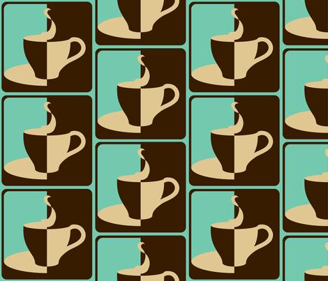 COFFEE_2__WAYS__aqua_ fabric by pavlovais on Spoonflower - custom fabric