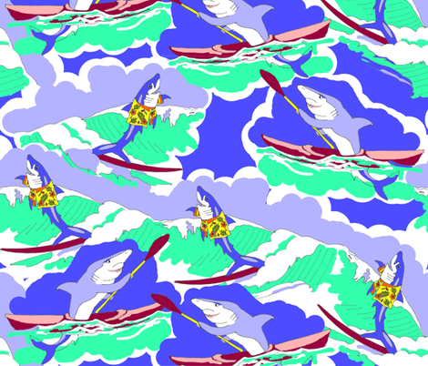 Sharks at Sea fabric by eclectic_house on Spoonflower - custom fabric