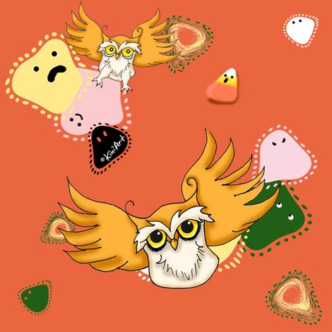 Halloween Owls And Dots fabric by kiniart on Spoonflower - custom fabric