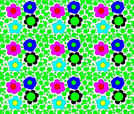 flowers and aquamarine drops contrast fabric by mimi&me on Spoonflower - custom fabric