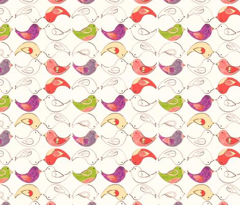 Crayon Birds  fabric by annadriel on Spoonflower - custom fabric