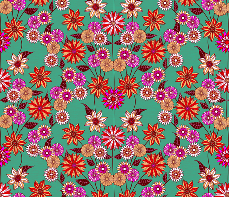 Eliza Floral Teal fabric by kezia on Spoonflower - custom fabric