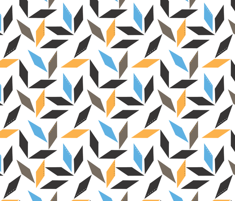 Parallelogram in blue fabric by me-udesign on Spoonflower - custom fabric