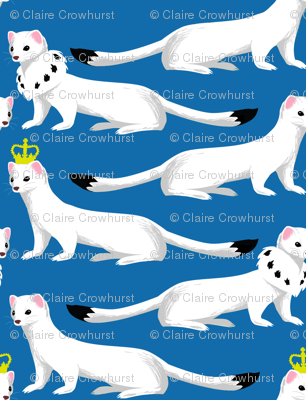 Ermines on Blue