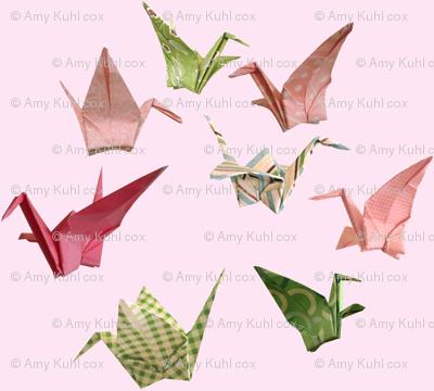 Pink Peace Crane Fabric - Miniprint Version