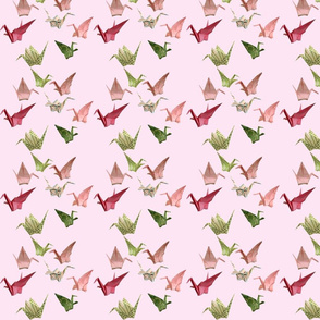 Pink Peace Crane Fabric - Miniprint Version