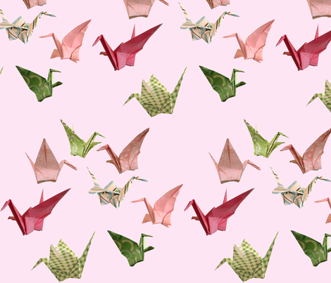 Pink Peace Cranes - Large Repeat Version fabric by amy_lou_who on Spoonflower - custom fabric