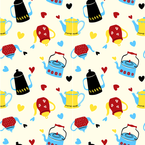 Coffee or Tea (playful color) fabric by twinklearts on Spoonflower - custom fabric