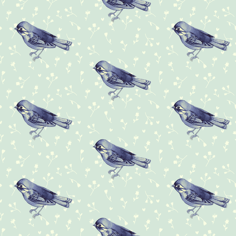 Vintage Indigo Sparrow on Eggshell Green fabric by thistleandfox on Spoonflower - custom fabric
