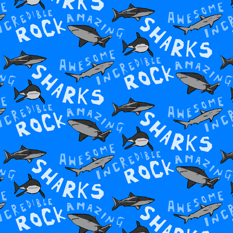 Sharks Rock! fabric by lusykoror on Spoonflower - custom fabric