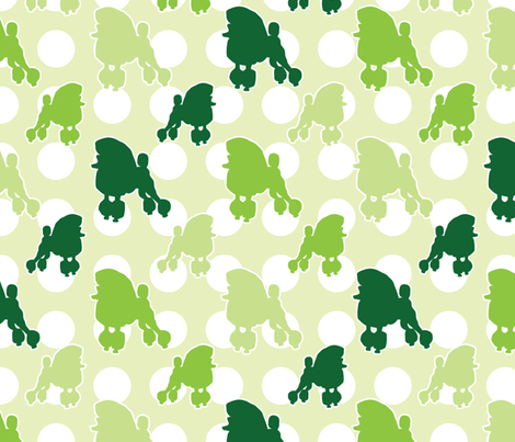 Green Poodle Polka Dot fabric by robyriker on Spoonflower - custom fabric