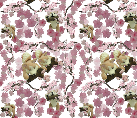 Sakura repeat white fabric by hakuai on Spoonflower - custom fabric