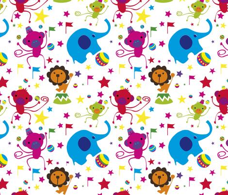 Juggling Monkeys tuttifrutti fabric by sol on Spoonflower - custom fabric
