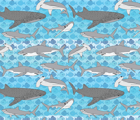 Shark Time fabric by wildnotions on Spoonflower - custom fabric