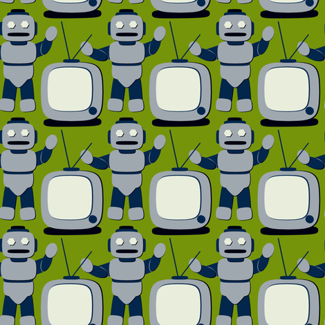 TV Cartoon Robot Retro Avocado fabric by jazilla on Spoonflower - custom fabric