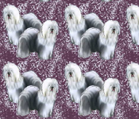 Old English Sheepdog Fabric Purple background fabric by dogdaze_ on Spoonflower - custom fabric