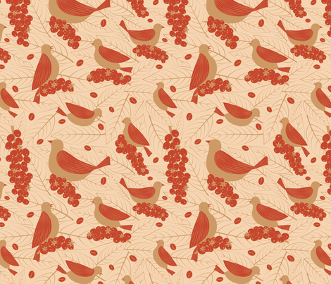 Bird Friendly Coffee (Red) fabric by gracedesign on Spoonflower - custom fabric