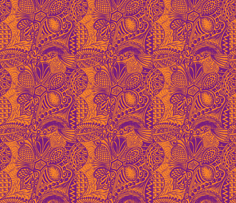 Zentangle tree - orange and purple basic repeat fabric by oodleardle on Spoonflower - custom fabric