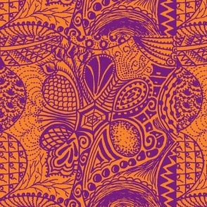 Zentangle tree - orange and purple basic repeat