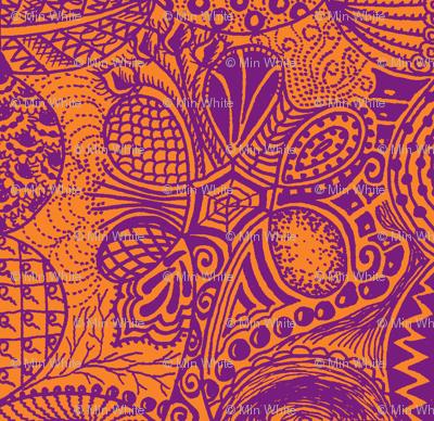 Zentangle_tree_purple_orange_mirror_repeat
