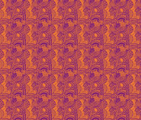 Zentangle_tree_purple_orange_mirror_repeat fabric by oodleardle on Spoonflower - custom fabric