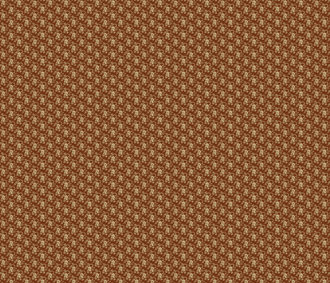 Doll scale antique madder-brown calico fabric by the_cornish_crone on Spoonflower - custom fabric