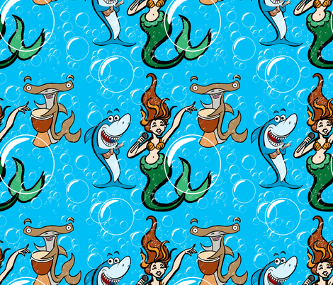 shark_mermaid_bubbles_spoonflower fabric by worldwidedeb on Spoonflower - custom fabric