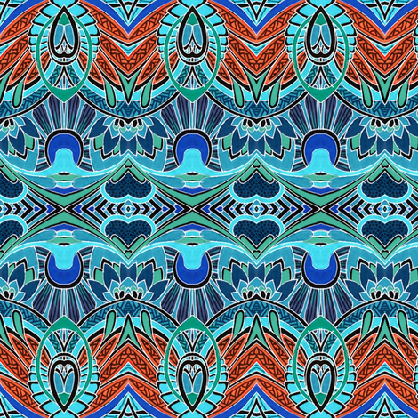 Doin' Deco (aqua/rust) fabric by edsel2084 on Spoonflower - custom fabric