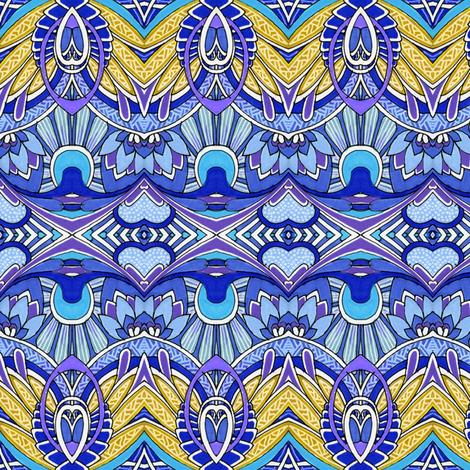 Doin' Deco (blue/gold) fabric by edsel2084 on Spoonflower - custom fabric