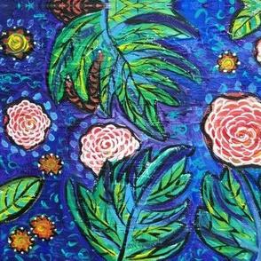 Flower Garden in Blue