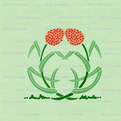 Grain (millet) on green linen weave by Su_G