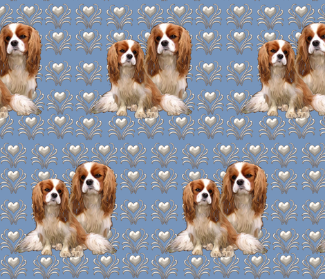 Cavalier King Charles Spaniel Fabric fabric by dogdaze_ on Spoonflower - custom fabric
