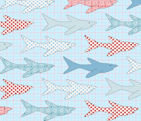sharks fabric by shiny on Spoonflower - custom fabric