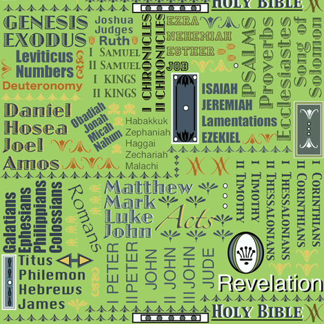 Books of the Bible-Green fabric by petals_fair_(peggy_brown) on Spoonflower - custom fabric