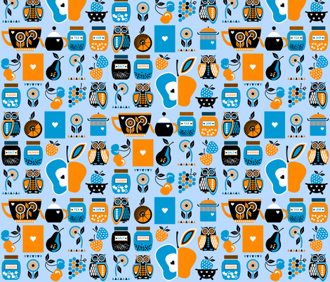 Owls_in_the_kitchen_blue fabric by niceandfancy on Spoonflower - custom fabric