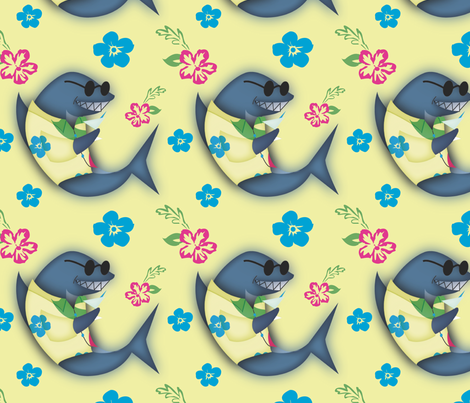 Aloha! Shark fabric by brandymiller on Spoonflower - custom fabric