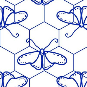 Butterfly Blueprint - 09 - Blue and White Positive