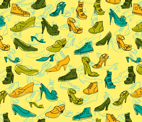 Yellow Shoe Obsession fabric by woodledoo on Spoonflower - custom fabric