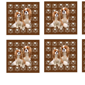 Set of 20 Cavalier King Charles fabric squares