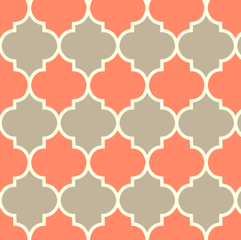 Moorish - coral & dove fabric by kayajoy on Spoonflower - custom fabric