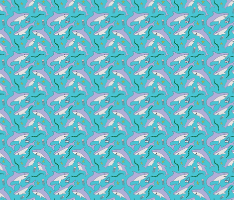 Shark School fabric by audzipan on Spoonflower - custom fabric