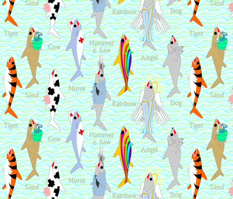 ©2011  Field Guide to Sharks fabric by glimmericks on Spoonflower - custom fabric