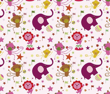 Juggling Monkeys Azalea fabric by sol on Spoonflower - custom fabric