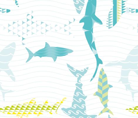Sharks fabric by loki_and_lamb on Spoonflower - custom fabric